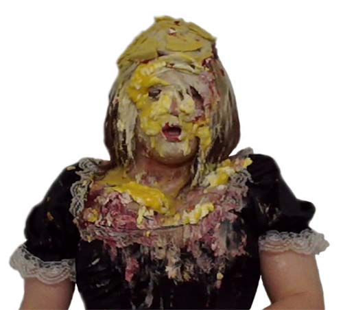 Maid Elise splattered with pies.